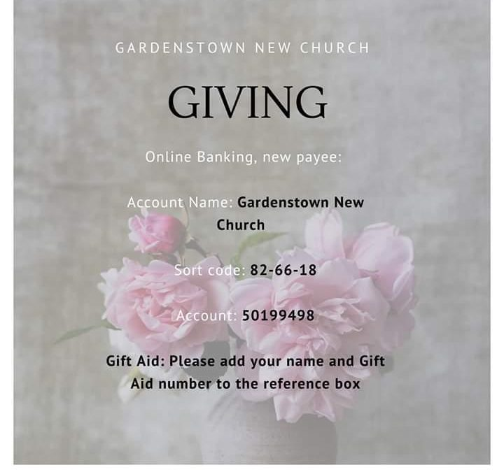 Giving at Gardenstown New Church during Corona Virus crisis